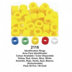 Aros de silicona 50 uds.(azul, verde, amarillo, rojo, blanco)