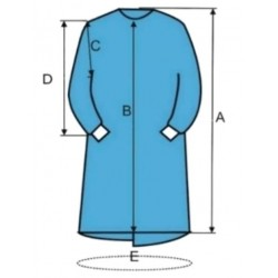 Batas quirúrgicas desechables azules, talla XL