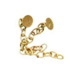 Botón lingual con cadena. (Gancho Extrusión) Dorado. Bolsa de 2 uds.