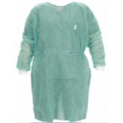 Bata PP + PE verde protectora con puño algodón. [Pack de 10 uds.] (5,35€/unidad)