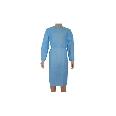 Bata PP azul protectora con puño elástico de 40gr. [Pack de 10 uds.] (2,07€/unidad)